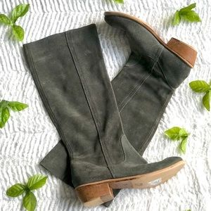 Bronx green suede mid calf length boots size 7.5
